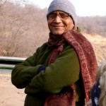Our guide Arvind, bundled up against the morning chill at the tiger reserve