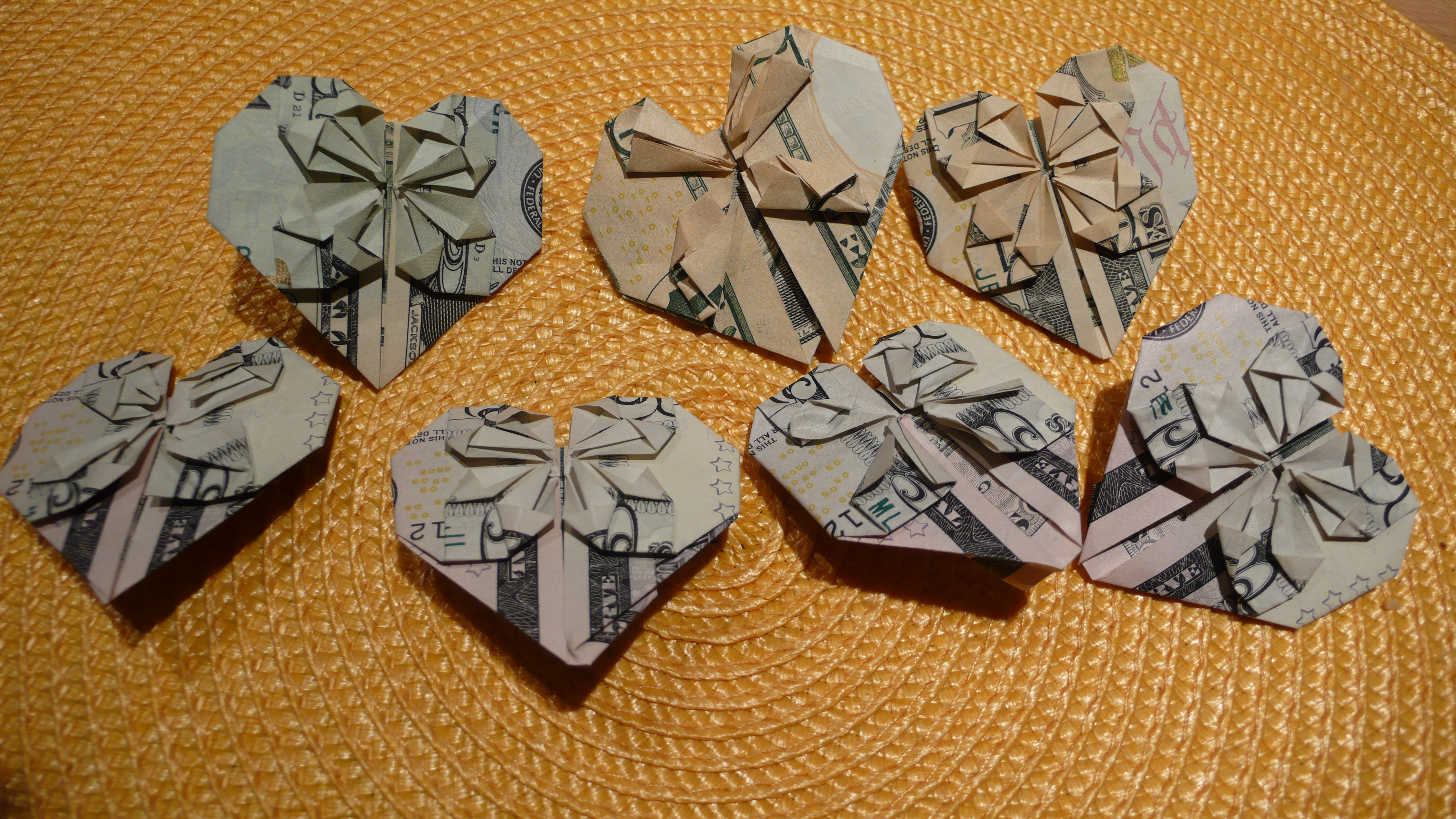 Origami paper heart made from dollar bills frangallos blog our paper hearts we are going to make more on thursday jeuxipadfo Images